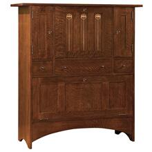 No Door Wine Rack On Bottom, Oak Harvey Ellis Fall-front Bar