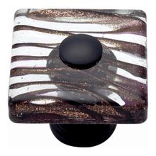 Milky Way Glass Square Knob 1 1/2 Inch - Aged Bronze