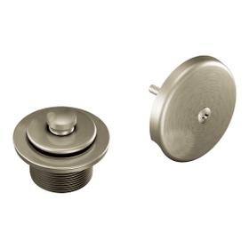 "Moen Brushed Nickel Push-N-Lock Tub Drain Kit with 1-1/2"" Threads"