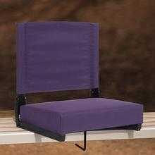 See Details - Grandstand Comfort Seats by Flash - 500 lb. Rated Lightweight Stadium Chair with Handle & Ultra-Padded Seat, Dark Purple