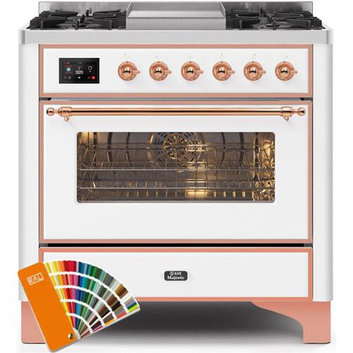 Majestic II 36 Inch Dual Fuel Liquid Propane Freestanding Range in Custom RAL Color with Copper Trim