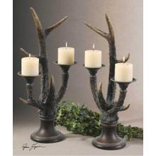 Stag Horn Candleholder, S/2