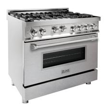 """View Product - ZLINE 36"""" Professional 4.6 cu. ft. 6 Gas on Gas Range in Stainless Steel with Color Door Options (RG36) [Color: Stainless Steel with Brass Burners]"""