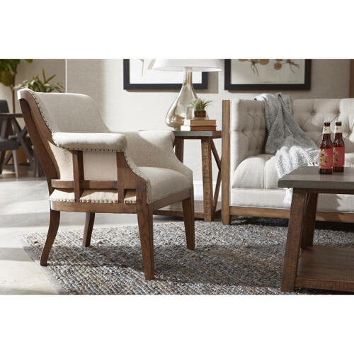 Deconstructed Style Upholstered Accent Chair in Dove Gray