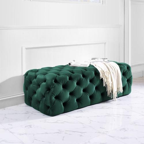 Tov Furniture - Kaylee Jumbo Green Velvet Ottoman