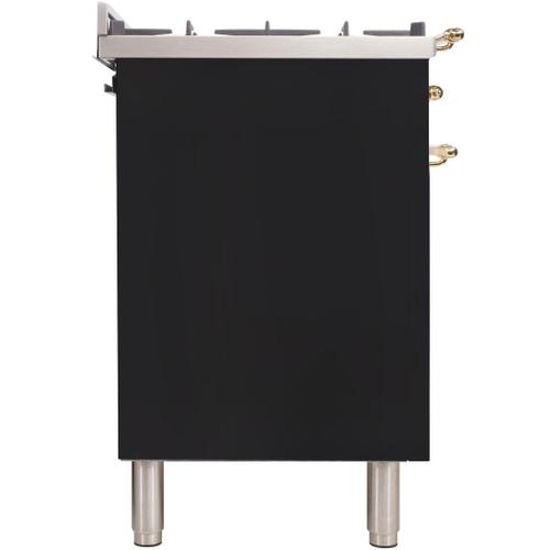 Nostalgie 36 Inch Dual Fuel Natural Gas Freestanding Range in Glossy Black with Brass Trim