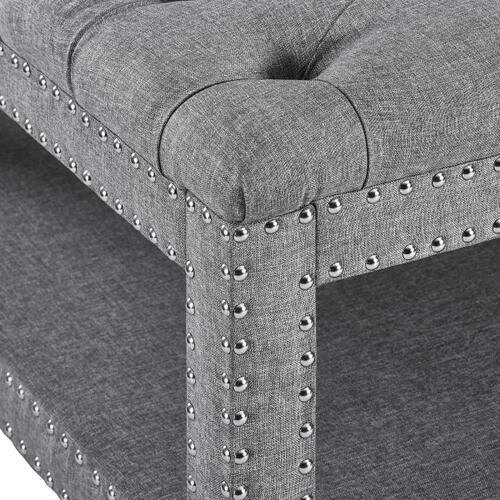 Grey Button Tufted Cocktail Ottoman