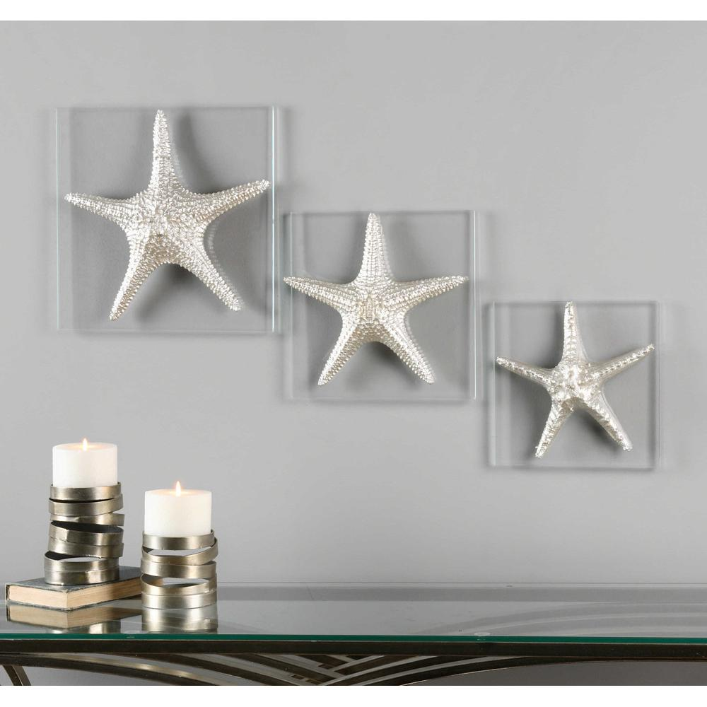See Details - Silver Starfish Wall Decor, S/3