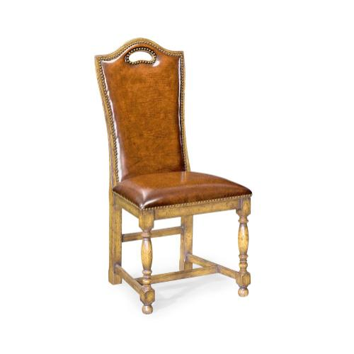 Natural Oak High Back Side Chair with Antique Chestnut Leather Upholstery