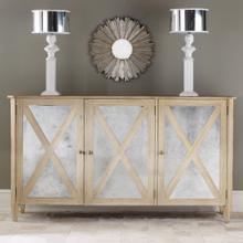 Mirrored 3 Door Cabinet-Weathered Oak
