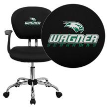 Wagner College Seahawks Embroidered Black Mesh Task Chair with Arms and Chrome Base