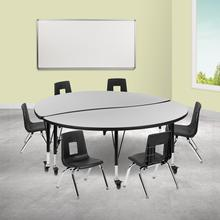 """Mobile 60"""" Circle Wave Collaborative Laminate Activity Table Set with 12"""" Student Stack Chairs, Grey\/Black"""