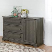 Storage Cabinet with 3 Drawers and 1 Door Dresser - Gray Maple