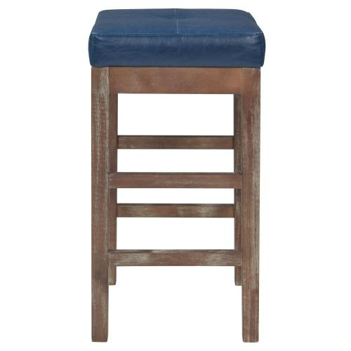 Product Image - Valencia Bonded Leather Counter Stool Drift Wood Legs, Vintage Blue
