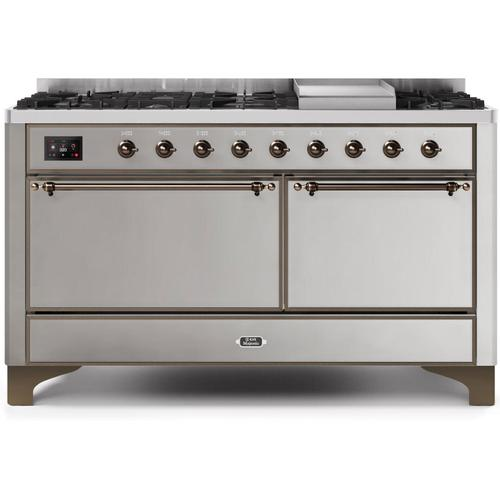 Ilve - Majestic II 60 Inch Dual Fuel Natural Gas Freestanding Range in Stainless Steel with Bronze Trim