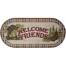 "Welcome Friends Beige 20""x44"" Oval"