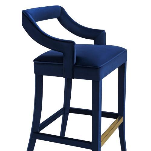Tov Furniture - Tiffany Navy Velvet Bar Stool