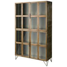 "Pandora I 74"" H Brown Wood and Metal Glass Door Display Cabinet"