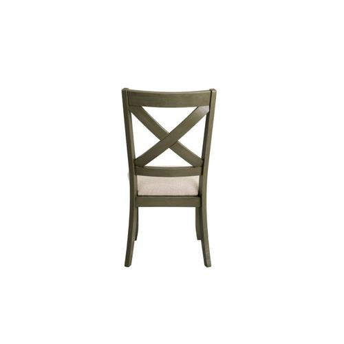 Standard Furniture - Omaha 2-Pack X-Back Side Chairs with Upholstered Seat, Grey