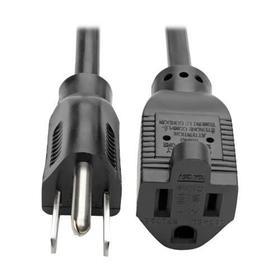 Power Extension Cord, NEMA 5-15P to NEMA 5-15R - 10A, 120V, 18 AWG, 6 ft. (1.83 m), Black