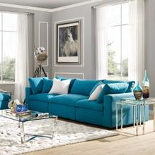 Commix Down Filled Overstuffed 3 Piece Sectional Sofa Set in Teal