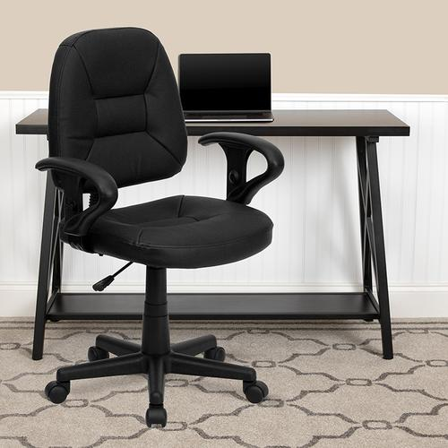 Gallery - Mid-Back Black Leather Swivel Ergonomic Task Office Chair with Adjustable Arms