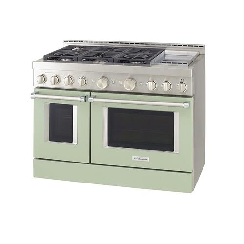 KitchenAid® 48'' Smart Commercial-Style Gas Range with Griddle - Matte Avocado Cream