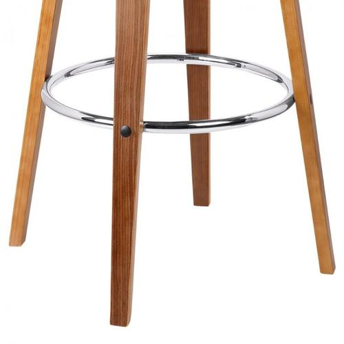 """Armen Living Solvang 26"""" Mid-Century Swivel Counter Height Barstool in Brown Faux Leather with Walnut Wood"""