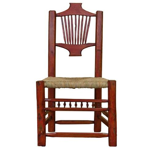 L.M.T. Rustic and Western Imports - Red Resplandor Chair W/Wicker Seat