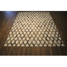 Durable Handmade Natural Leather Patchwork Cowhide PCH156 Area Rug by Rug Factory Plus - 5' x 7' / Gray White
