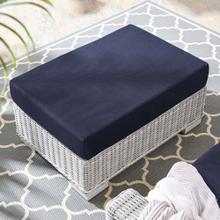 Conway Sunbrella® Outdoor Patio Wicker Rattan Ottoman in Light Gray Navy