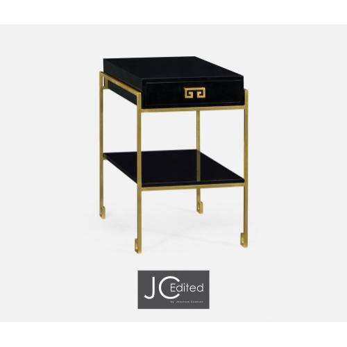 Gilded Iron End Table with Smoky Black Drawer