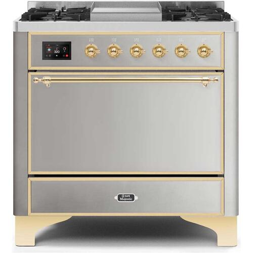 Majestic II 36 Inch Dual Fuel Liquid Propane Freestanding Range in Stainless Steel with Brass Trim
