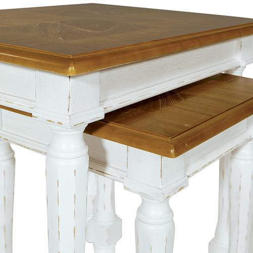 Medford Nesting Tables- White Distressed Frame With Natural Veneer Top