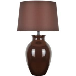 Table Lamp, Brown Ceramic/brown Fabric Shade, E27 Cfl 23w
