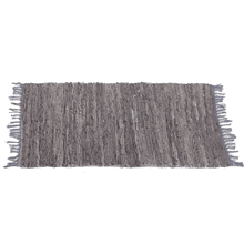 Grey Leather Chindi 2' x 3' Rug (Each One Will Vary)