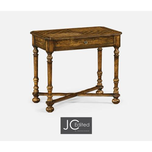 Country Walnut Parquet Rectangular Side Table with Contrast Inlay