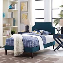 View Product - Corene Twin Fabric Platform Bed with Squared Tapered Legs in Azure
