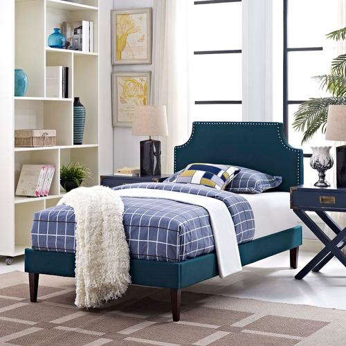Modway - Corene Twin Fabric Platform Bed with Squared Tapered Legs in Azure