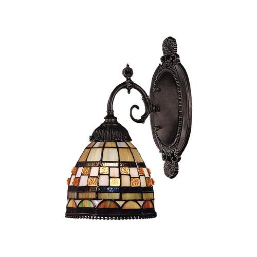 Jewelstone 1-Light Wall Lamp in Tiffany Bronze with Tiffany Style Glass