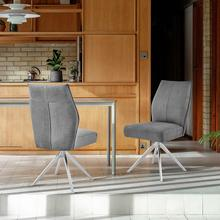 View Product - Monarch Swivel Dining Room Accent Chair in Grey Fabric and Brushed Stainless Steel Finish - Set of 2