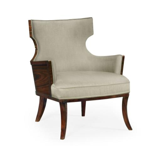 Dark Santos Winged Back Occasional Chair, Upholstered in MAZO