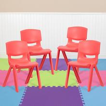 4 Pack Red Plastic Stackable School Chair with 15.5'' Seat Height [4-YU-YCX-005-RED-GG]
