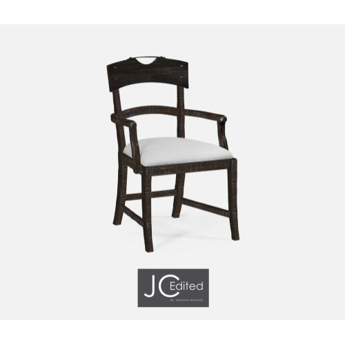 Planked Dark Ale Dining Arm Chair, Upholstered in COM