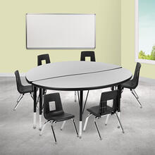 """47.5"""" Circle Wave Collaborative Laminate Activity Table Set with 14"""" Student Stack Chairs, Grey\/Black"""
