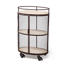 Saluti II Black Metal Frame cage w/three wood shelves oval Bar Cart