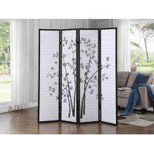 See Details - Bamboo Print 4-Panel Black Framed Room Screen/Divider