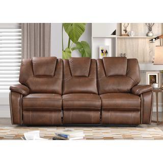 See Details - 8083 BROWN Manual Recliner Air Leather Sofa