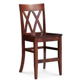 "Bristol Stationary Barstool, 24"" Seat Height / Wood Seat"