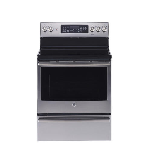 "GE 30"" Freestanding Electric Self-Cleaning Convection Range Stainless Steel - JCB890SNSS"